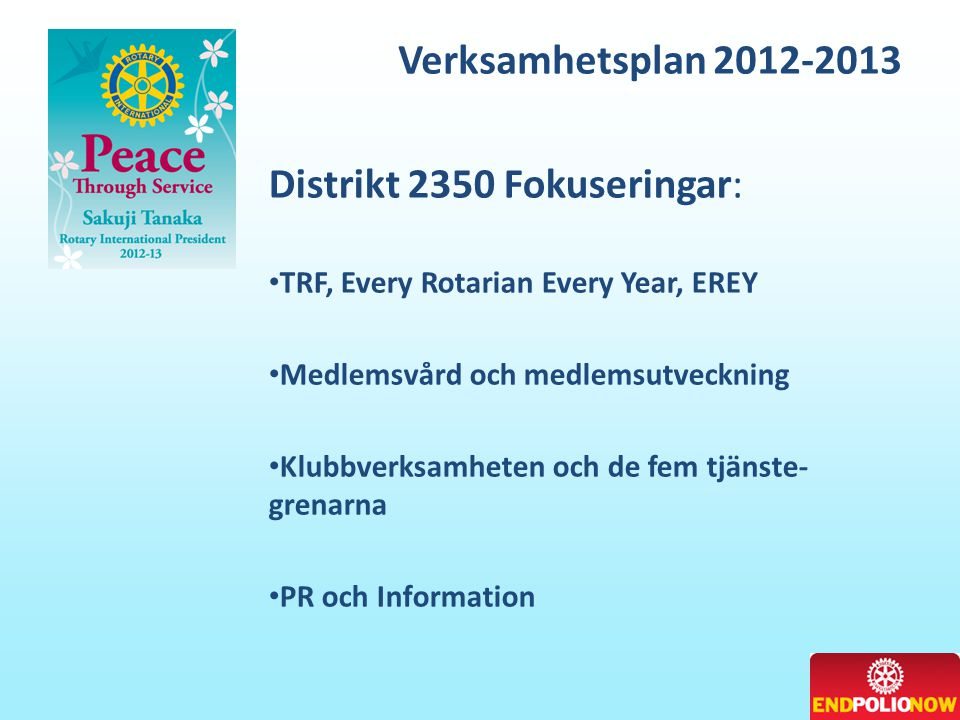 Distrikt 2350 Fokuseringar:
