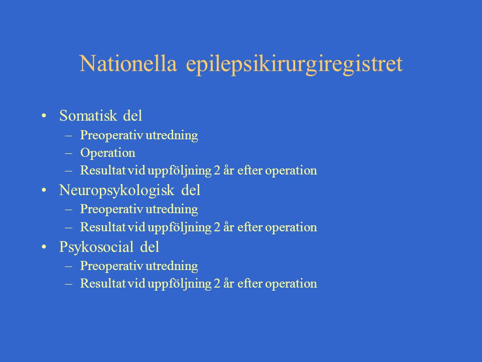 Nationella epilepsikirurgiregistret
