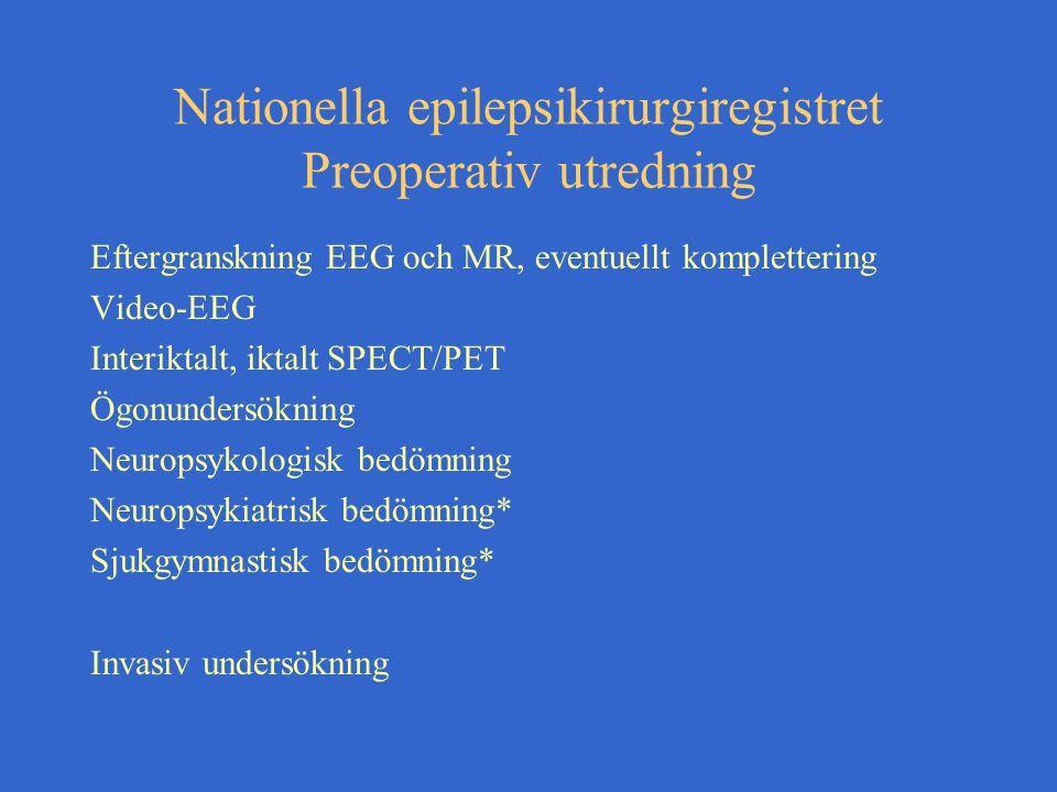 Nationella epilepsikirurgiregistret Preoperativ utredning