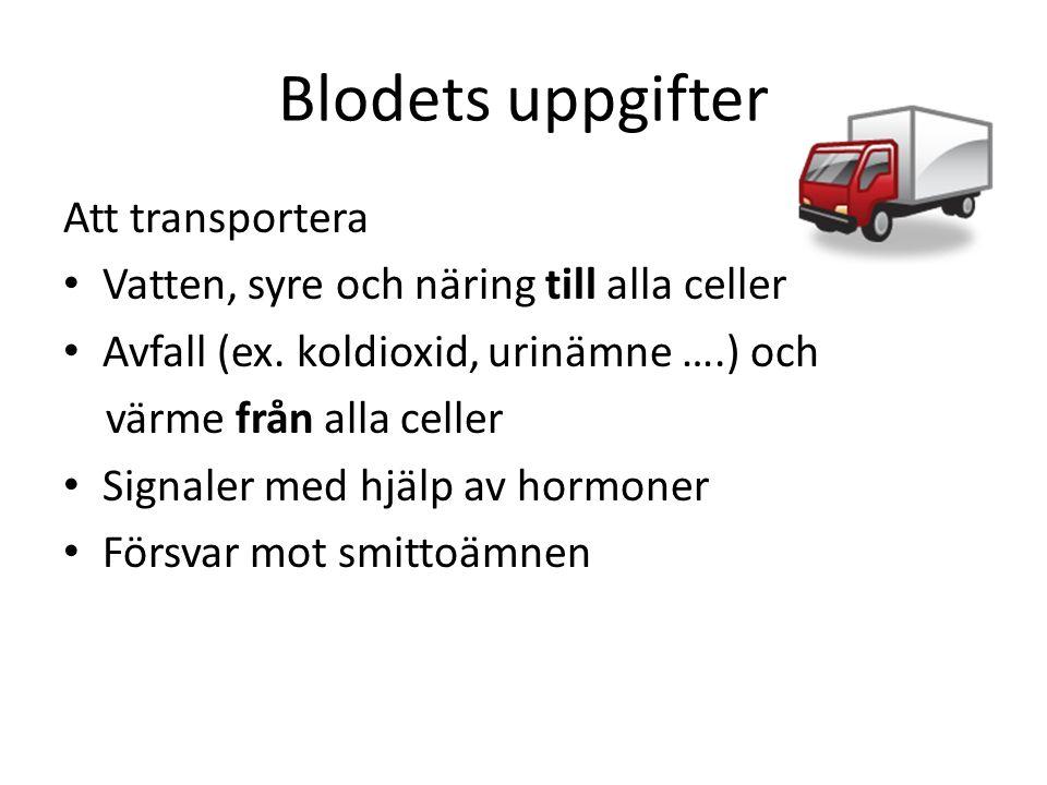 Blodets uppgifter Att transportera
