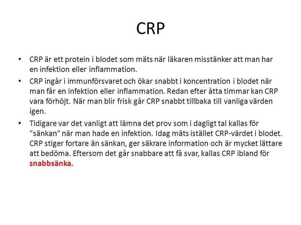 CRP CRP är ett protein i blodet som mäts när läkaren misstänker att man har en infektion eller inflammation.