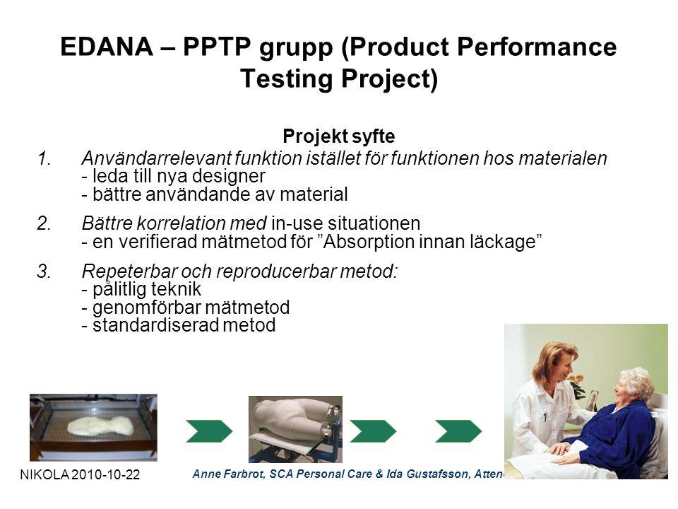 EDANA – PPTP grupp (Product Performance Testing Project) Projekt syfte