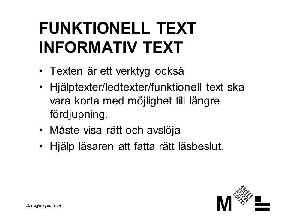 FUNKTIONELL TEXT INFORMATIV TEXT