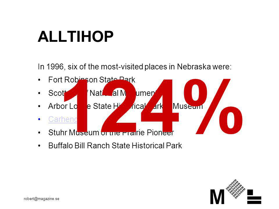 ALLTIHOP In 1996, six of the most-visited places in Nebraska were: Fort Robinson State Park. Scotts Bluff National Monument.