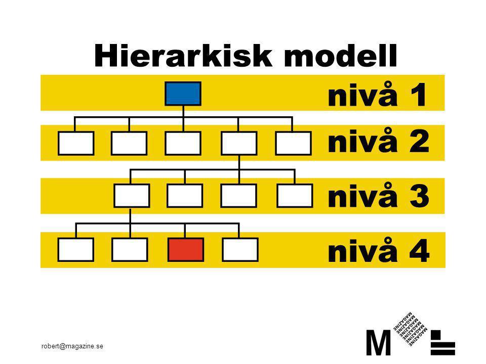 En hierarkisk modell innebär att informationen är hårt indelad efter en logisk struktur med en topp, huvudgrupper, med undergrupper. Modellen gör det lätt för användaren att skapa sig en mental bild över webbtjänsten vilket underlättar navigationen.