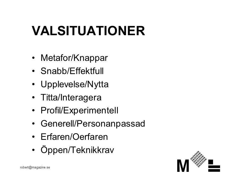 VALSITUATIONER Metafor/Knappar Snabb/Effektfull Upplevelse/Nytta