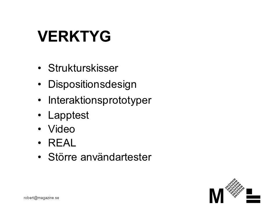VERKTYG Strukturskisser Dispositionsdesign Interaktionsprototyper