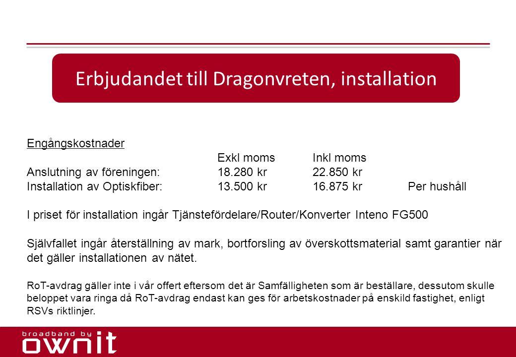 Erbjudandet till Dragonvreten, installation