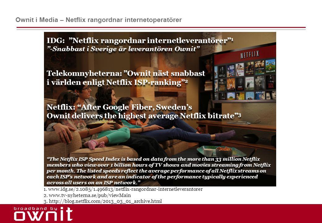 IDG: Netflix rangordnar internetleverantörer 1