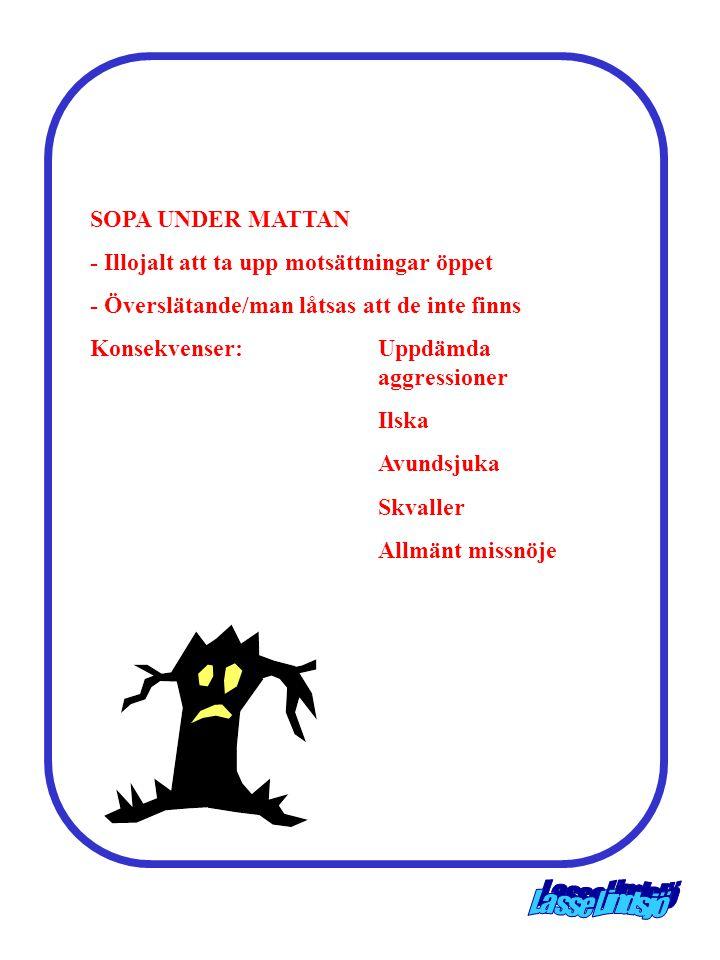 SOPA UNDER MATTAN - Illojalt att ta upp motsättningar öppet. - Överslätande/man låtsas att de inte finns.