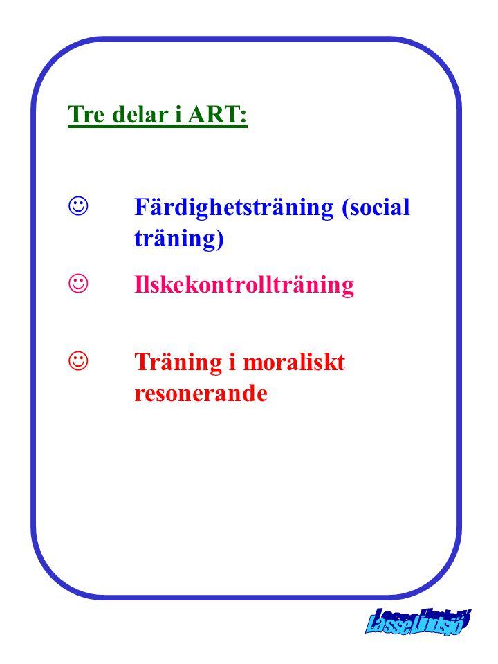 Tre delar i ART: Färdighetsträning (social träning) Ilskekontrollträning.