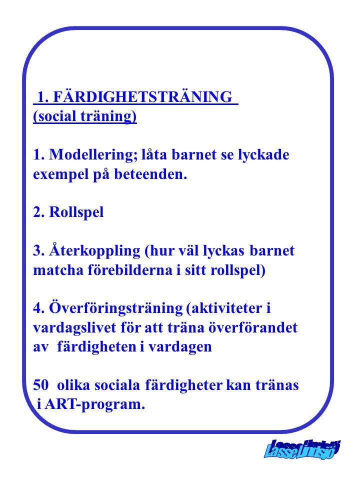 1. FÄRDIGHETSTRÄNING (social träning) 1. Modellering; låta barnet se lyckade. exempel på beteenden.