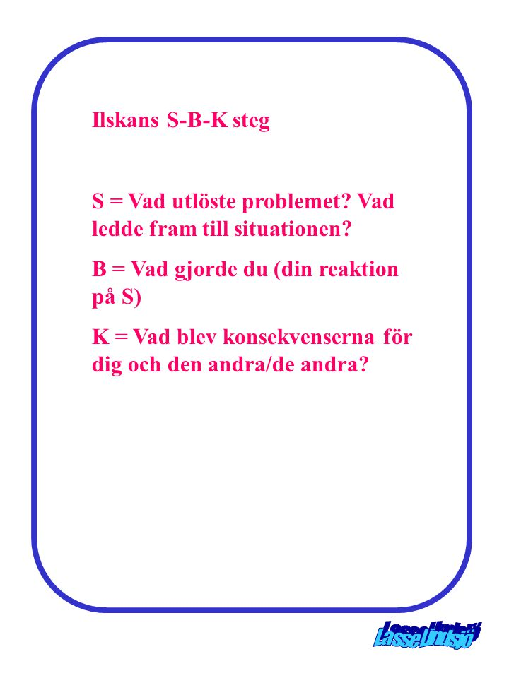 Ilskans S-B-K steg S = Vad utlöste problemet Vad ledde fram till situationen B = Vad gjorde du (din reaktion på S)