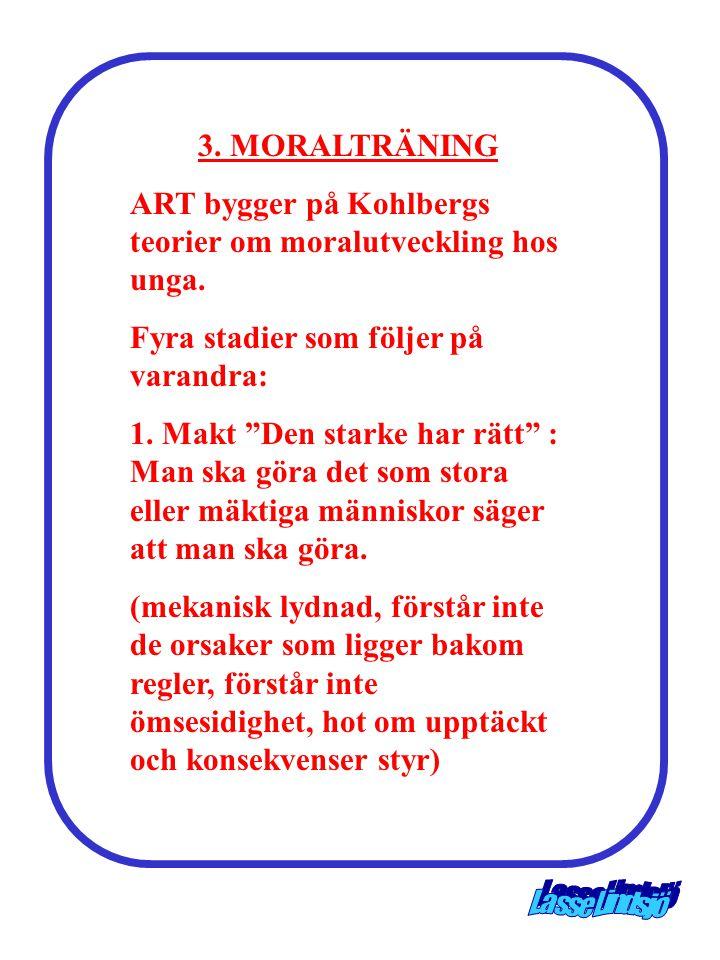 3. MORALTRÄNING ART bygger på Kohlbergs teorier om moralutveckling hos unga. Fyra stadier som följer på varandra: