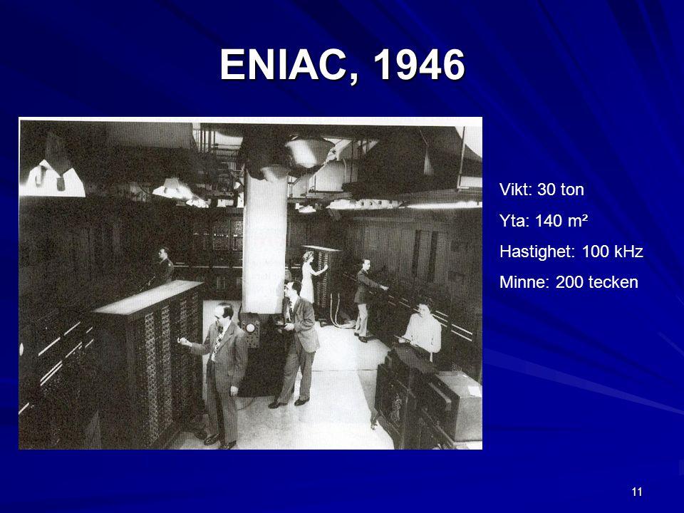 ENIAC, 1946 Vikt: 30 ton Yta: 140 m² Hastighet: 100 kHz
