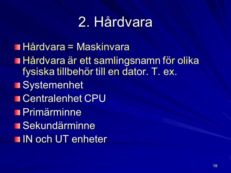 2. Hårdvara Hårdvara = Maskinvara