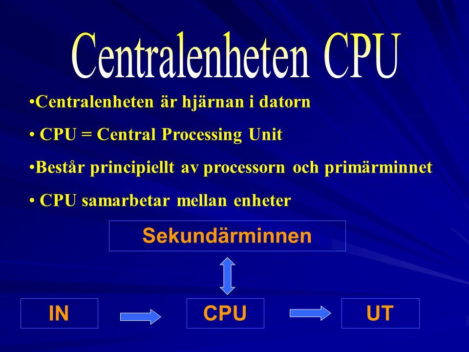 Centralenheten CPU Sekundärminnen IN CPU UT