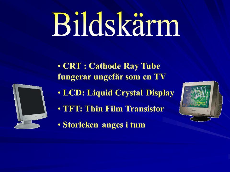 Bildskärm CRT : Cathode Ray Tube fungerar ungefär som en TV