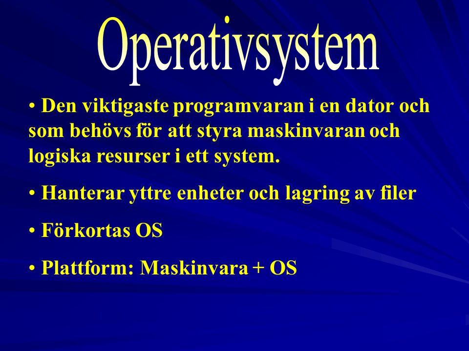 2017-04-03 Operativsystem. Den viktigaste programvaran i en dator och som behövs för att styra maskinvaran och logiska resurser i ett system.