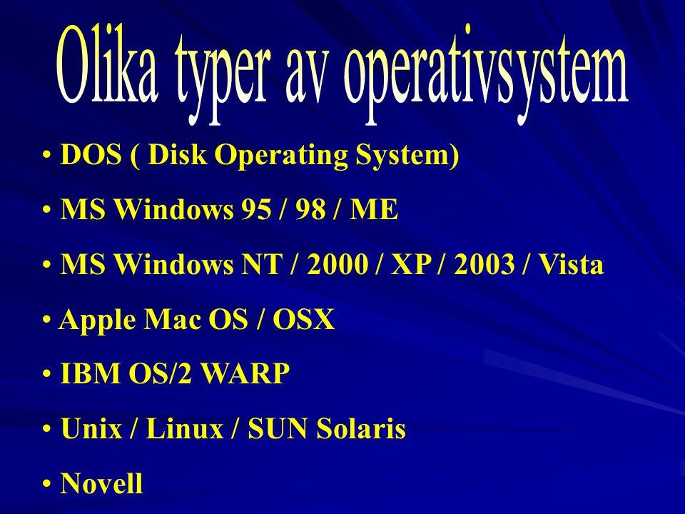 Olika typer av operativsystem
