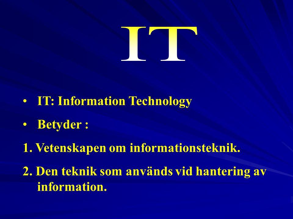 IT IT: Information Technology Betyder :