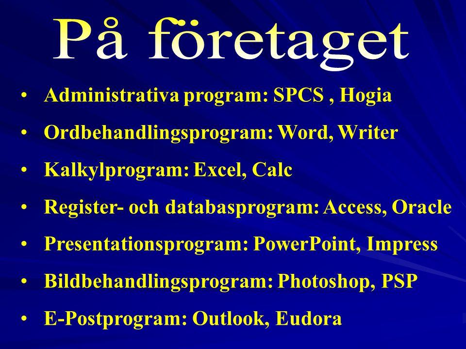 På företaget Administrativa program: SPCS , Hogia
