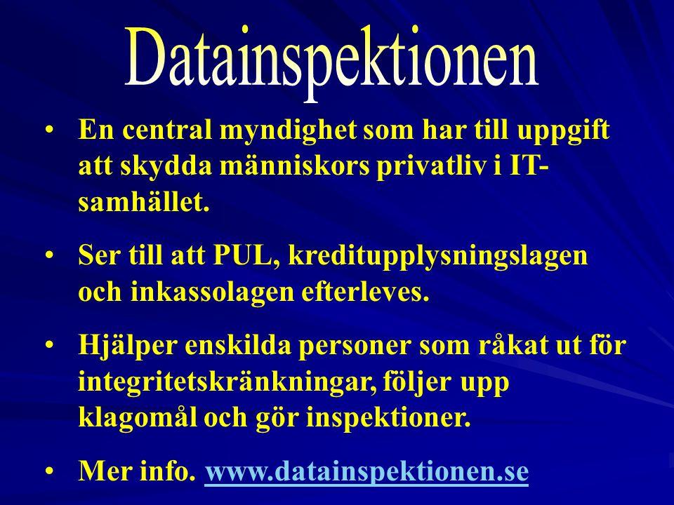 2017-04-03 Datainspektionen. En central myndighet som har till uppgift att skydda människors privatliv i IT-samhället.