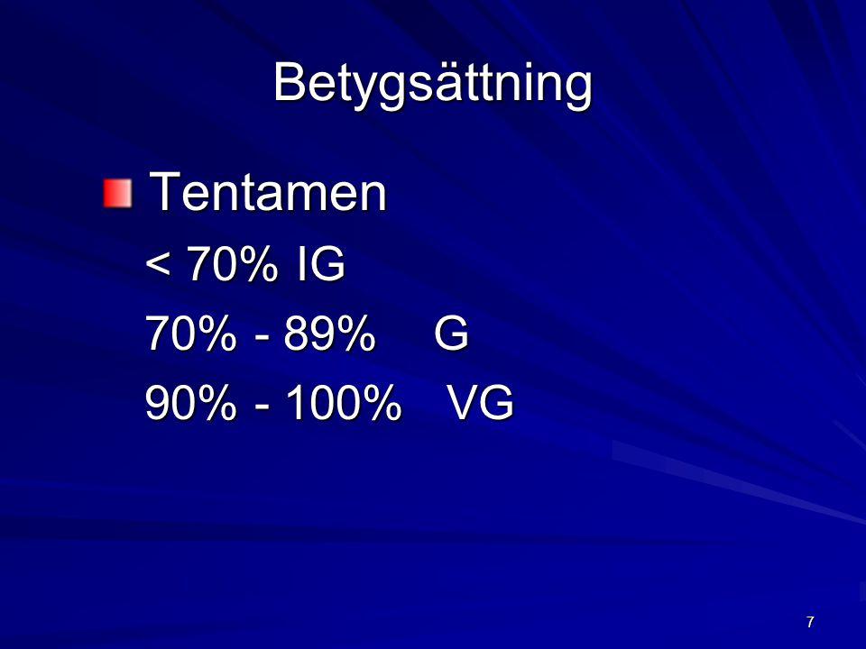 Betygsättning Tentamen < 70% IG 70% - 89% G 90% - 100% VG