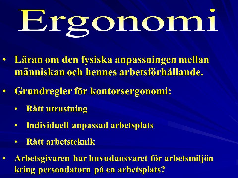 2017-04-03 Ergonomi. Läran om den fysiska anpassningen mellan människan och hennes arbetsförhållande.