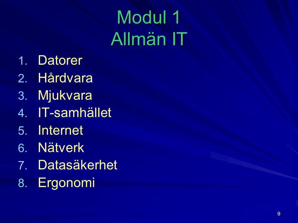 Modul 1 Allmän IT Datorer Hårdvara Mjukvara IT-samhället Internet