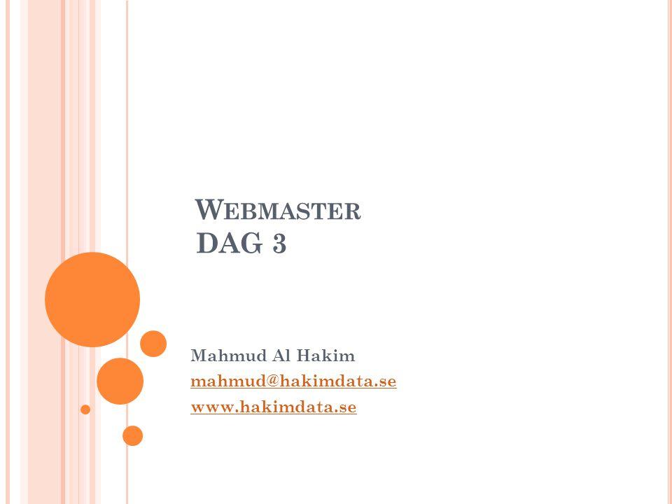Mahmud Al Hakim mahmud@hakimdata.se www.hakimdata.se