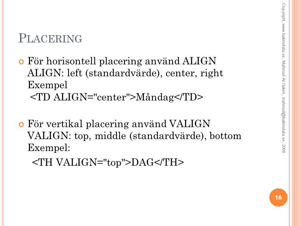 Placering För horisontell placering använd ALIGN ALIGN: left (standardvärde), center, right Exempel <TD ALIGN= center >Måndag</TD>