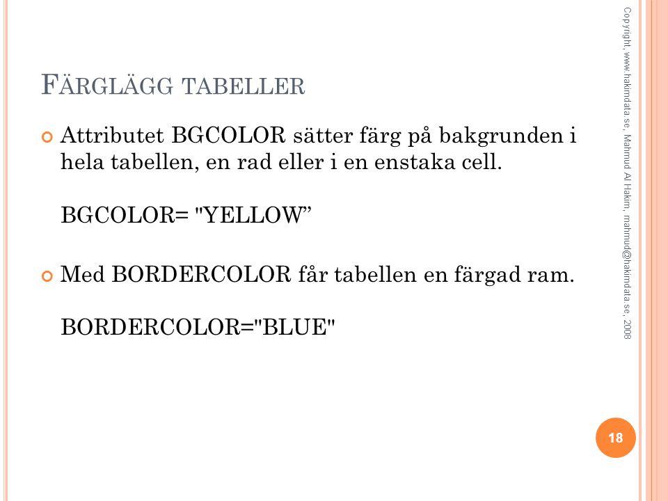 Färglägg tabeller Attributet BGCOLOR sätter färg på bakgrunden i hela tabellen, en rad eller i en enstaka cell. BGCOLOR= YELLOW
