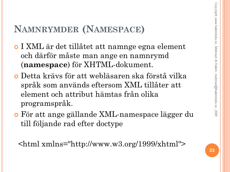 Namnrymder (Namespace)