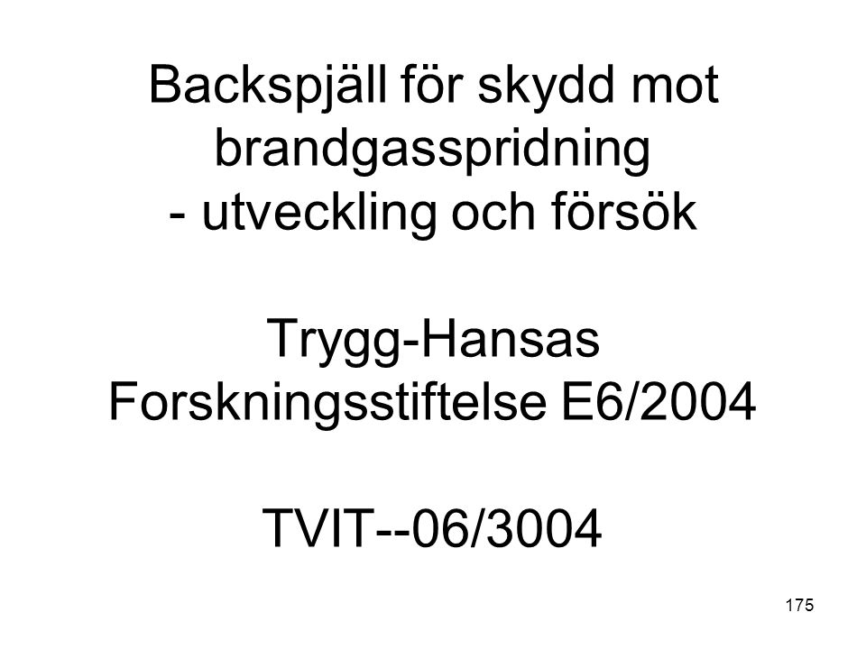 Backspjäll för skydd mot brandgasspridning - utveckling och försök Trygg-Hansas Forskningsstiftelse E6/2004 TVIT--06/3004