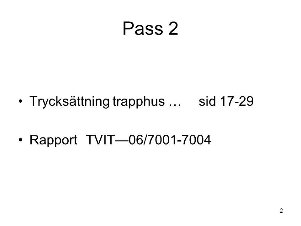 Pass 2 Trycksättning trapphus … sid 17-29 Rapport TVIT—06/7001-7004
