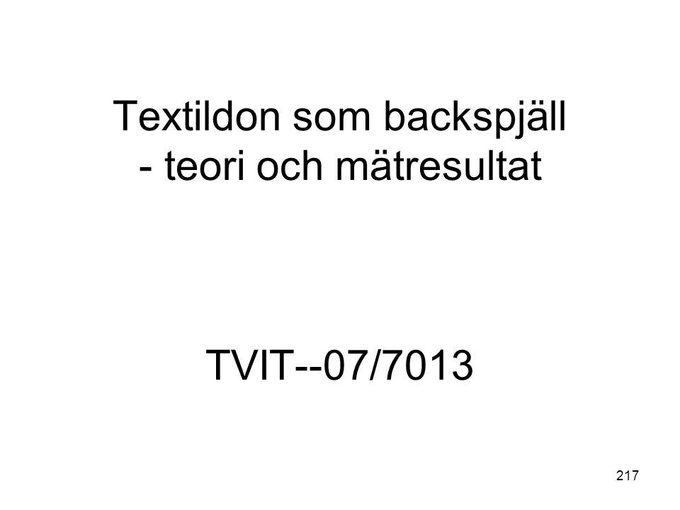 Textildon som backspjäll - teori och mätresultat TVIT--07/7013