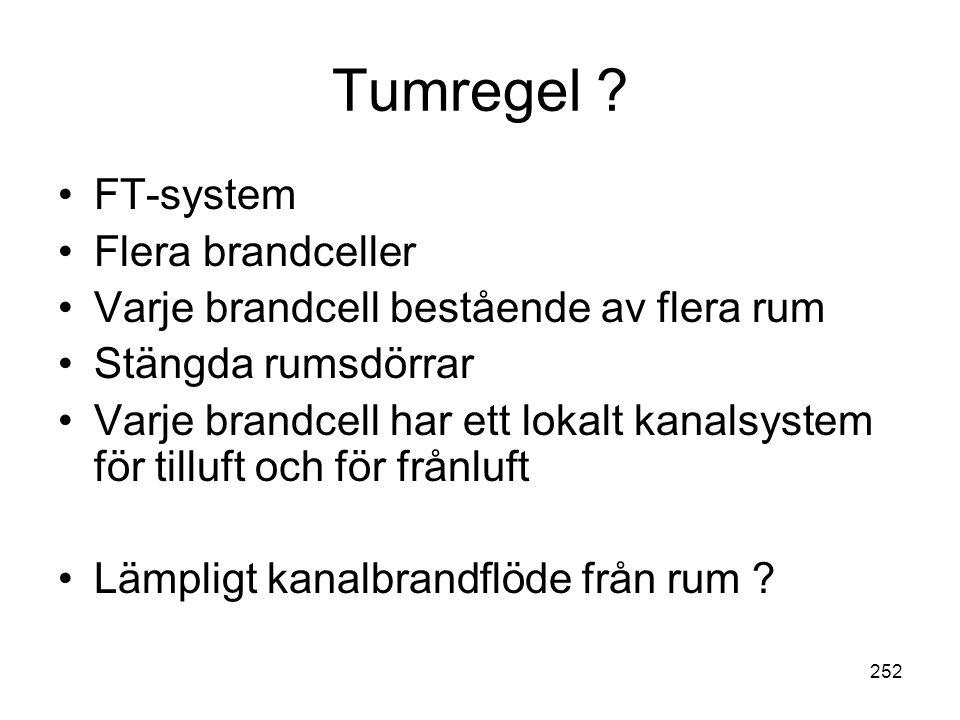Tumregel FT-system Flera brandceller