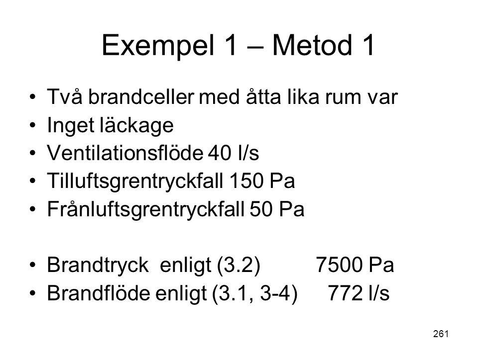 Exempel 1 – Metod 1 Två brandceller med åtta lika rum var