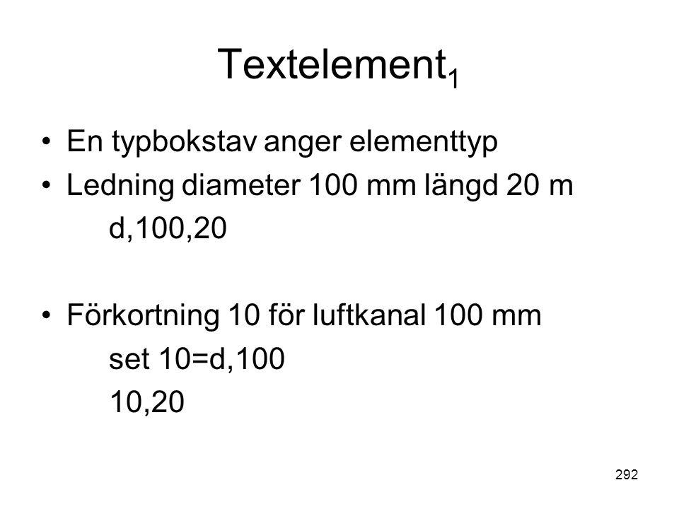 Textelement1 En typbokstav anger elementtyp