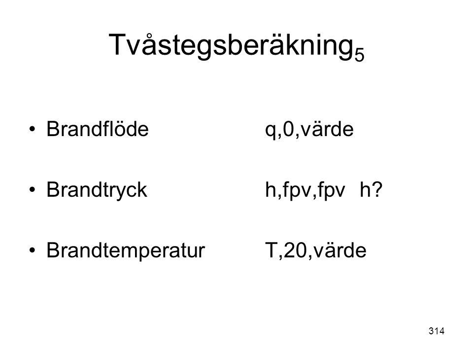 Tvåstegsberäkning5 Brandflöde q,0,värde Brandtryck h,fpv,fpv h
