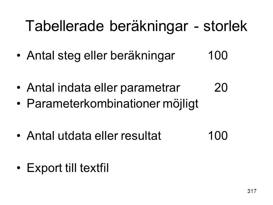 Tabellerade beräkningar - storlek