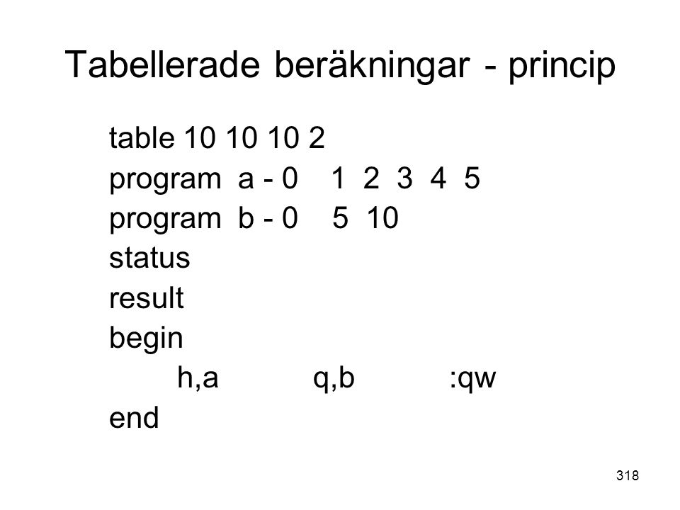 Tabellerade beräkningar - princip