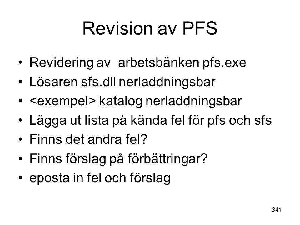 Revision av PFS Revidering av arbetsbänken pfs.exe