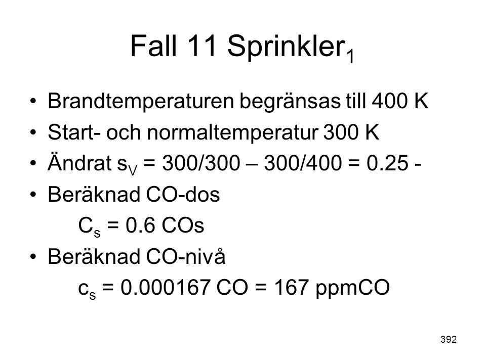 Fall 11 Sprinkler1 Brandtemperaturen begränsas till 400 K