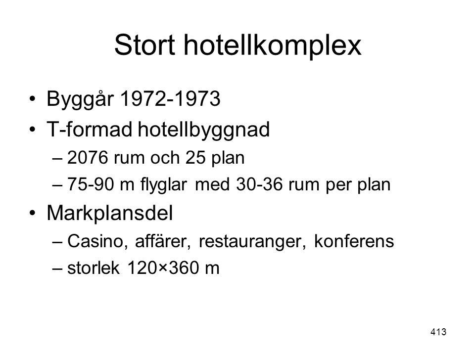 Stort hotellkomplex Byggår 1972-1973 T-formad hotellbyggnad