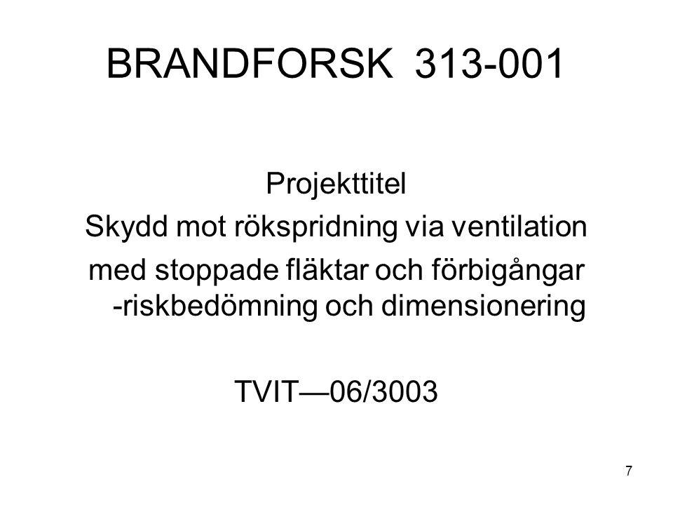 Informationsdag 28 mars 2007 Brandskydd, ventilation och PFS