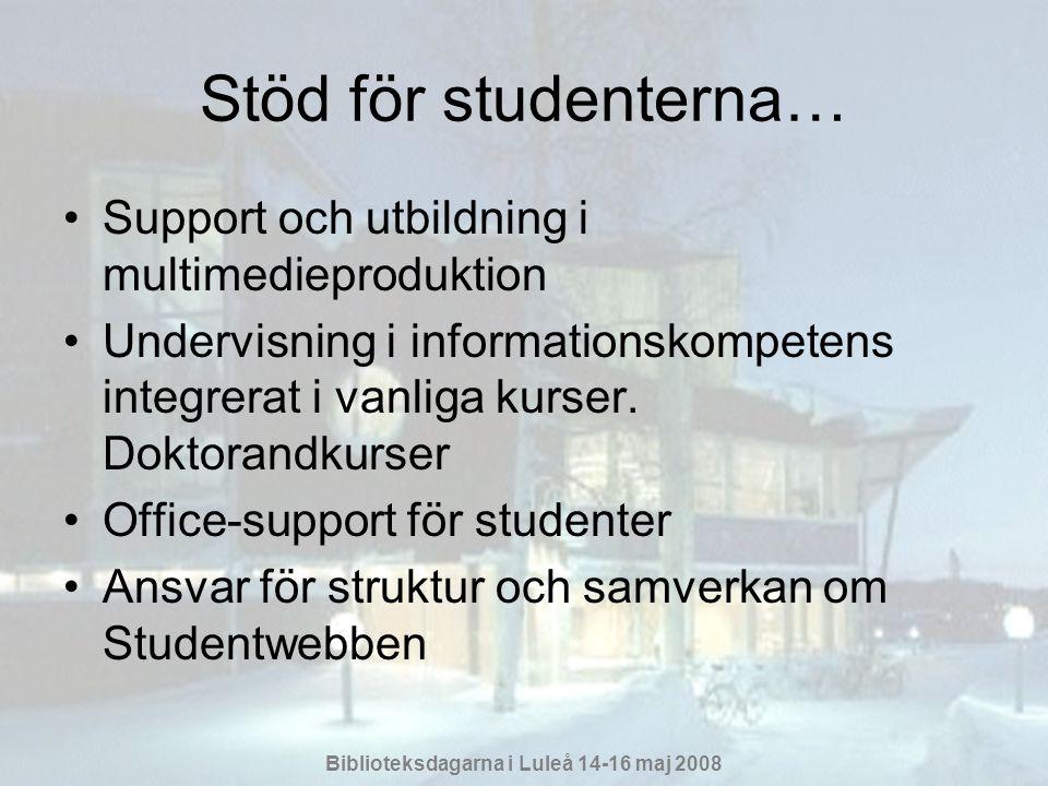 Stöd för studenterna… Support och utbildning i multimedieproduktion
