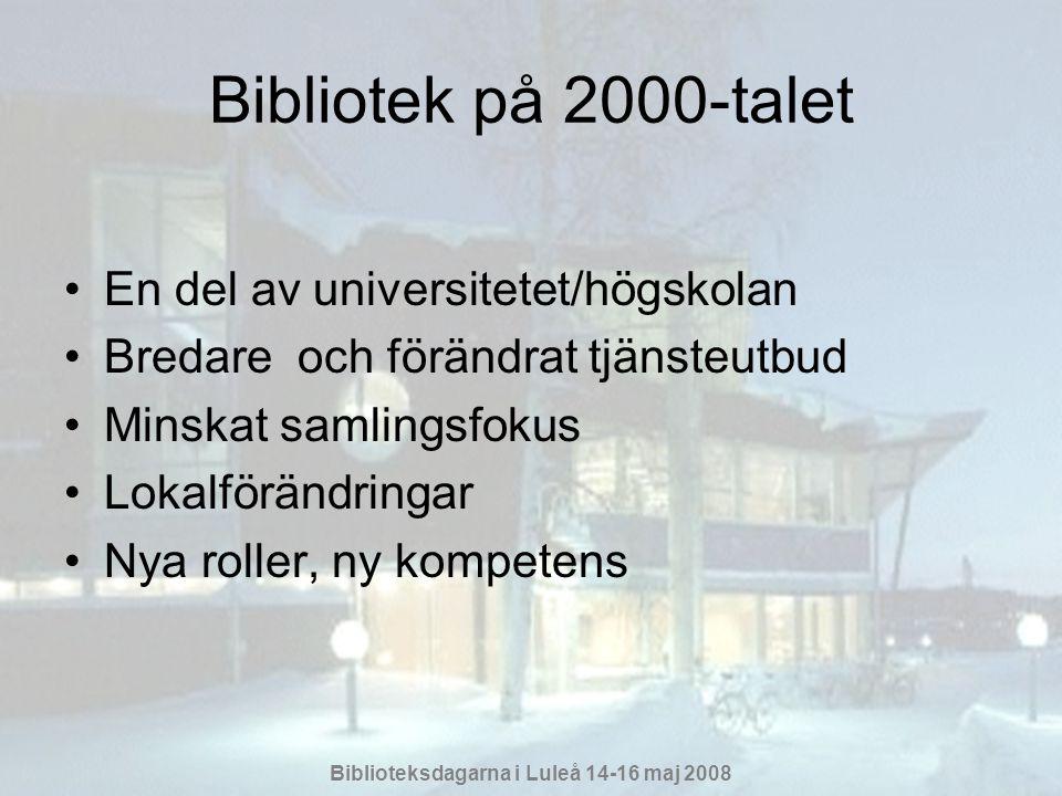 Bibliotek på 2000-talet En del av universitetet/högskolan