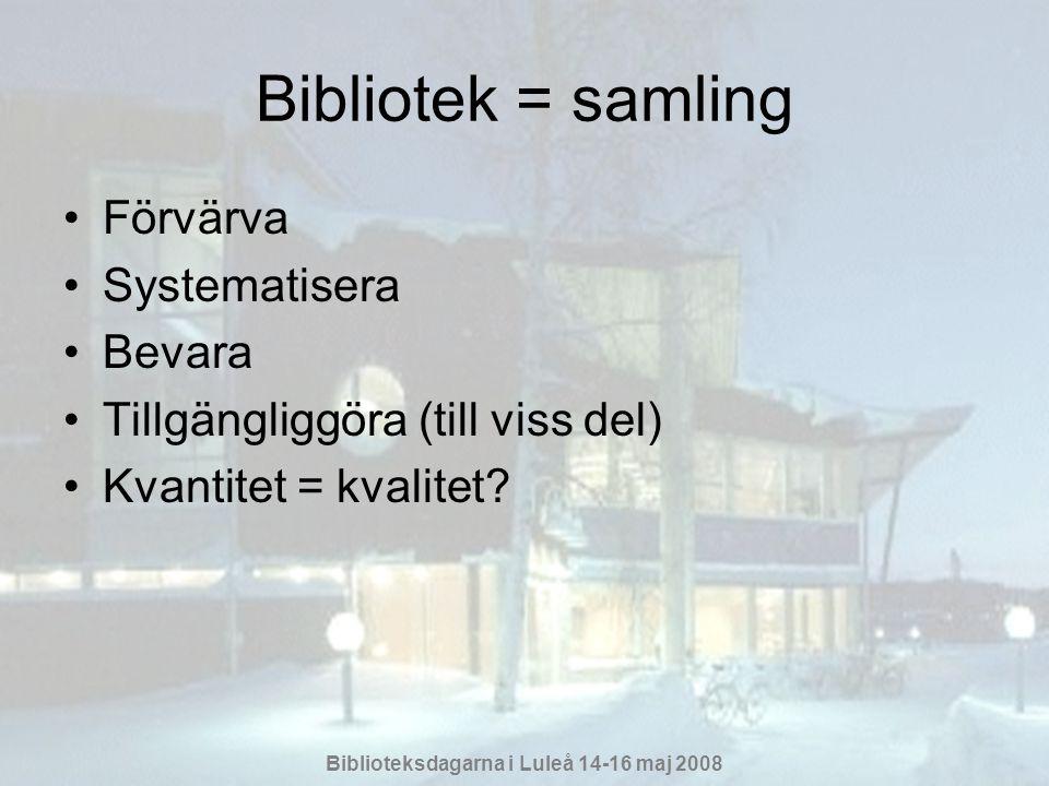 Bibliotek = samling Förvärva Systematisera Bevara